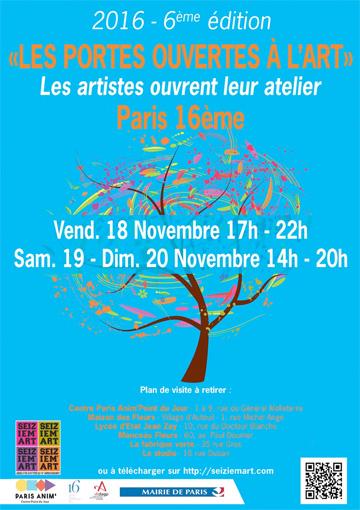 Seiziem'art  - 6e édition des Portes Ouvertes à l'art, Paris 16e, du 18 au 20 novembre 2016
