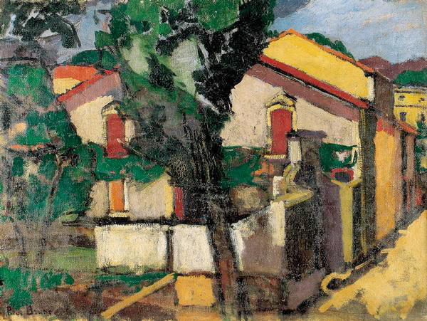 Pierre Brune, La route de Maureillas à Céret, 1917, huile sur toile, 46 x 61,2 cm, Musée d'art moderne de Céret, Joseph Gibernau / Studio Pyrénées, © Droits réservés
