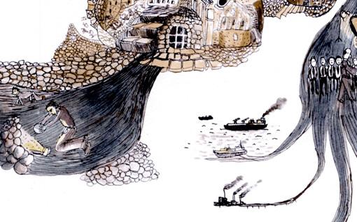 Détail de la carte souterraine de Lurs / Dessin de Mathias Poisson