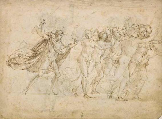 Baccio della Porta, dit Fra Bartolomeo (Florence, 1472 – Florence, 1517) L'Archange saint Michel, muni d'une épée, chasse un groupe de personnages
