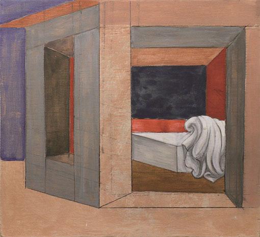 Les chambres secrètes, 03M6P, 2002, gouache et crayon sur bois, 30 x 32,5 cm, collection particulière, Nîmes, photo AC, © Adagp, Paris 2017