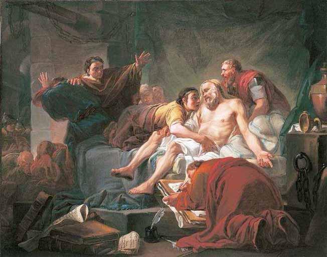 La mort de Socrate de Jean-Baptiste Alizard, (1762) - RMN-Grand Palais / image Beaux- Arts de Paris