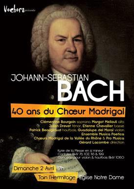 Concert J.S. Bach, Cantates et Concerto, le 2 avril 2017, église de Tain l'Hermitage, Drôme