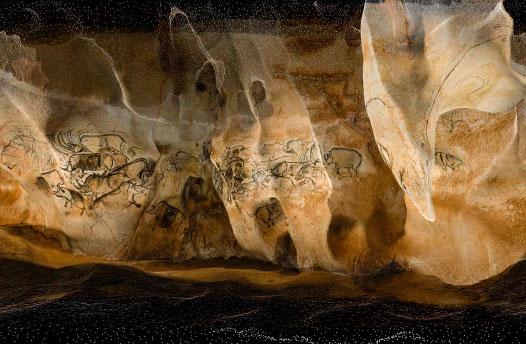 La salle du fond de la grotte Chauvet abrite des dizaines de figures noires tracées au fusain de charbon de bois.  Image issue du modèle 3D  © Psaila-Perazio