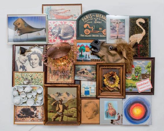 Daniel Spoerri Série Bildertollwut Assemblage 110 x 140 x 50 cm 3 octobre 2015