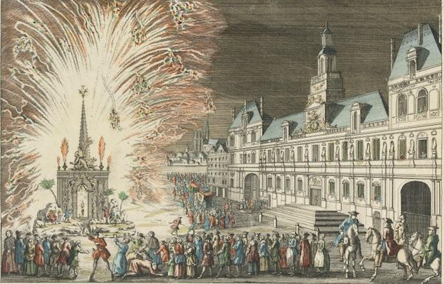 Vue perspective d'un Feu d'Artifice tiré devant l'Hôtel de Ville en réjouissance de la Paix. Anonyme. Eau forte en couleurs. 1763. © Musée Carnavalet / Roger-Viollet