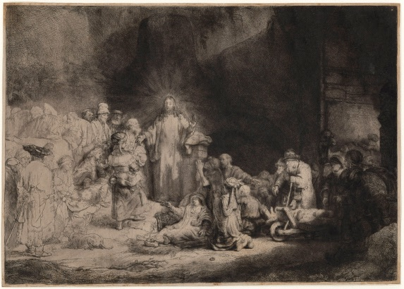 Rembrandt Harmensz Van Rijn (Leyde, 1606 ; Amsterdam, 1669). Jésus-Christ guérissant les malades, dit aussi La Pièce de cent florins, eau-forte, vers 1648. Chantilly, musée Condé. © RMN-Grand Palais (domaine de Chantilly) / Michel Urtado