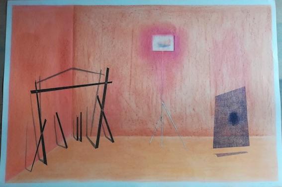 Frédéric Khodja, Apparition et spodomancie dans le lieu-d, 2018, dessin, crayons de couleurs et pierre noire, 75 x 110 cm