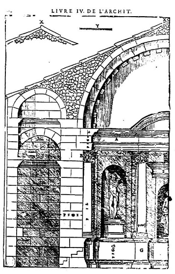 Temple de Diane, croquis de Palladio lors de son séjour à Nîmes