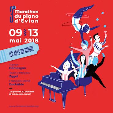 La troisième édition du Marathon du piano d'Evian investira toute la ville d'Evian du 9 Mai au 13 Mai 2018