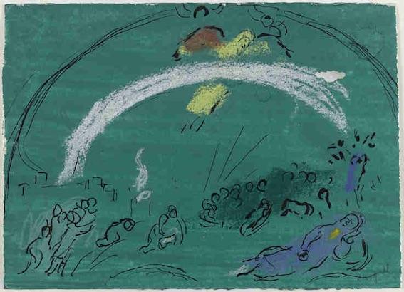 Marc Chagall, Noé et l'arc-en-ciel, 1961 - 1966, pastel, crayon, encre de Chine et lavis de gouache sur papier vélin, Musée national Marc Chagall, Nice © RMN-Grand Palais/ Gérard Blot © ADAGP, Paris, 2017-2018