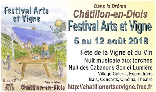 Châtillon-en-Diois, Drôme. Festival Châtillon Arts et Vigne : Autour de Knock,  du 5 au 12 août 2018