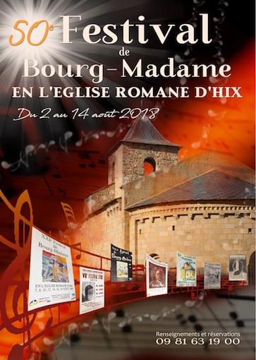 50e Festival de Bourg-Madame, du 2 au 14 Août 2018 au cœur de la Cerdagne dans les Pyrénées Orientales