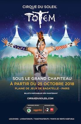 Le cirque du Soleil de retour à Paris avec son nouveau spectacle Totem à partir du 25 octobre 2018 sous le grand chapiteau, Plaine de jeux de Bagatelle, Paris
