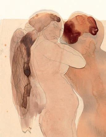 Deux femmes nues de profil dont l'une est agenouillée (détail), © musée Rodin, ph. Jean de Calan