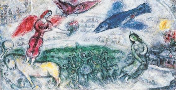 Marc Chagall, Les gens du voyage, 1968, huile sur toile de lin, 129,5 x 205,5 cm, Musée national d'art moderne / Centre de création industrielle