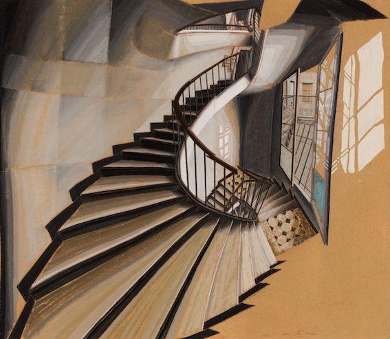 Sam Szafan (né en 1934), L'escalier au 54 rue de Seine, Paris, Pastel et gouache sur carton, 60,5x69,5cm