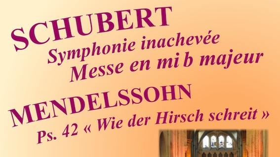 Champeaux (77), Collégiale Saint-Martin : Concert Schubert - Mendelssohn pour solistes, choeur et orchestre. (24/05/19)