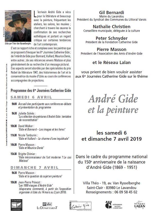 6es journées Catherine Gide, Le Lavandou les 6 et 7 avril 2019