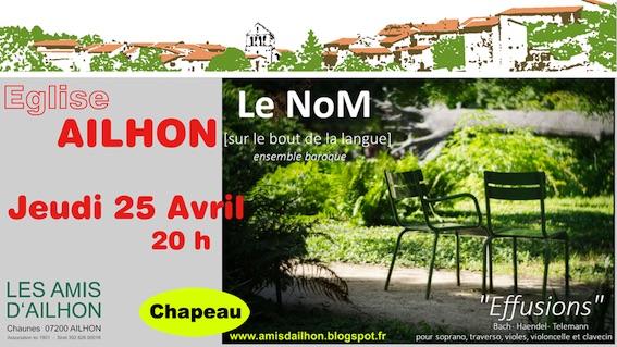Concert de l'Ensemble « Le NoM », Eglise d'Ailhon (07), le 25 avril 2019