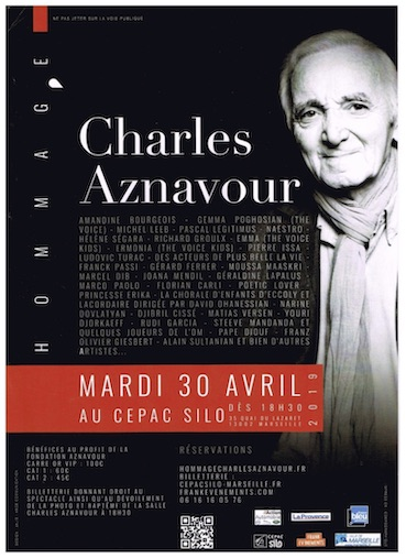 Aznavour, soirée hommage, Le Silo, Marseille, mardi 30 avril 2019