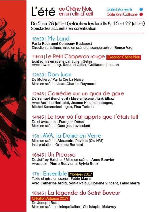 Avignon Off. Programmation du Théâtre du Chêne Noir du 5 au 28 juillet 2019