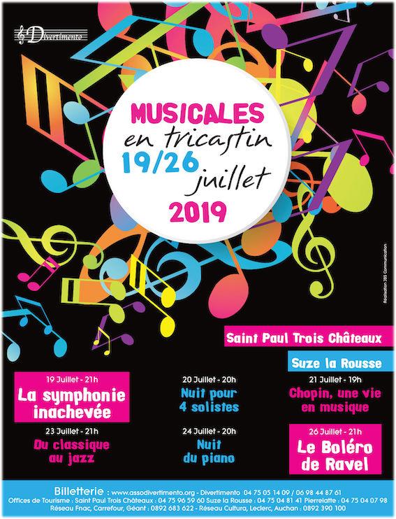 Musicales en Tricastin : De la Symphonie Jupiter de Mozart  à l'Inachevée de Schubert en passant par le Boléro de Ravel, 19 au 26 juillet 2019