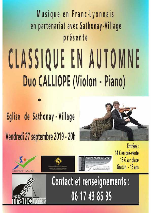 Duo Calliope, vendredi 27 septembre 2019 à 20h à l'église de Sathonay-Village
