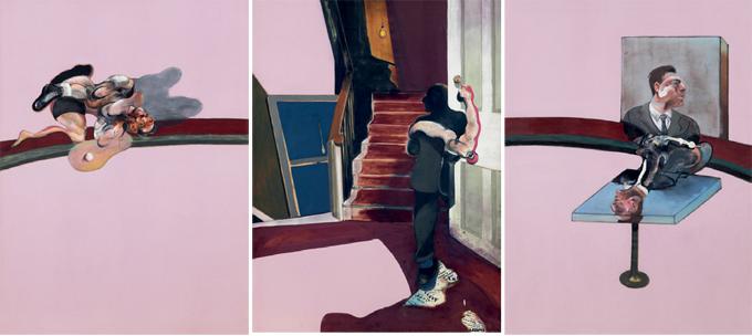 Francis Bacon. In Memory of George Dyer, 1971. Huile et letraset sur toile, triptyque, 198 x 147.50 cm. Fondation Beyeler - Beyeler Museum, Bâle