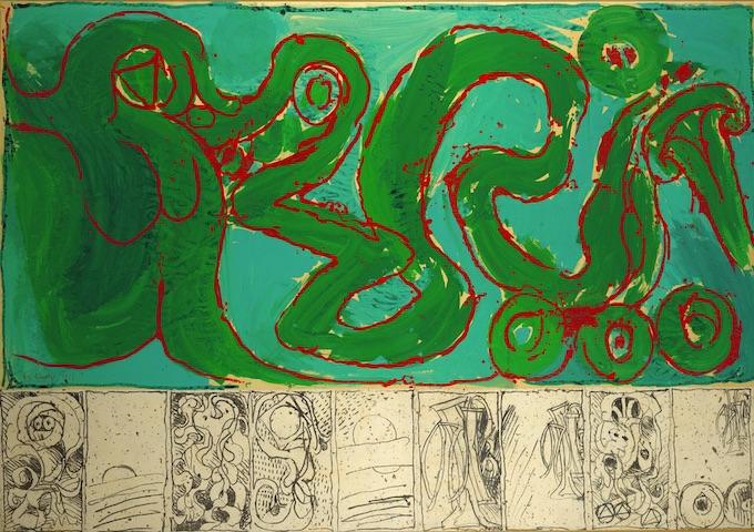 Pierre Alechinsjy, CoBrA de transmission, 1968, acrylique sur toile (prédelle : lithographies marouflées sur toile) © ADAGP Paris 2019