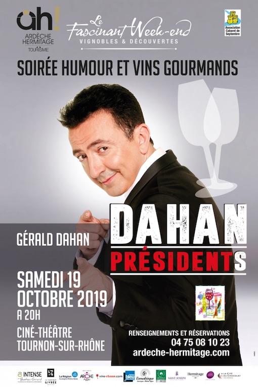 Tournon, Ciné-Théâtre, soirée Humour et Vins avec Gérald Dahan le 19/10/19 à 20h