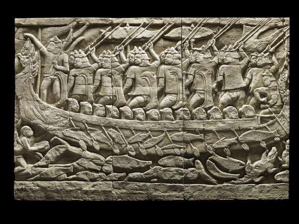 Charles Carpeaux, Moulage d'un bas-relief de la galerie du Bayon : scène de bataille navale (Angkor, Cambodge), Mission Dufour-Carpeaux, 1904
