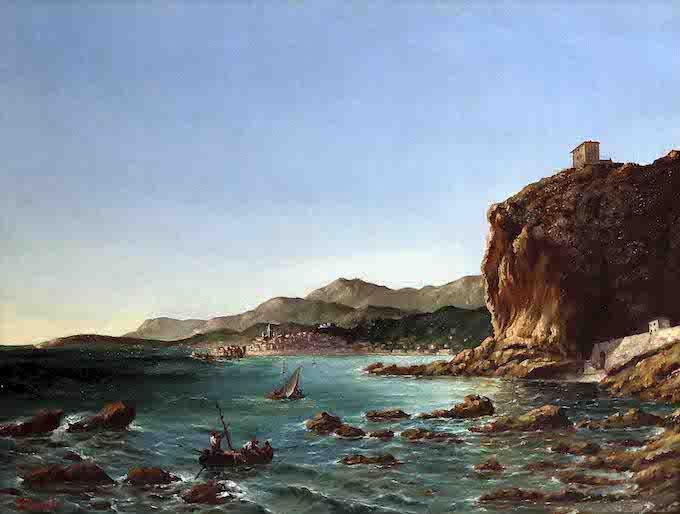 R. Bucelli Les rochers rouges Huile sur toile