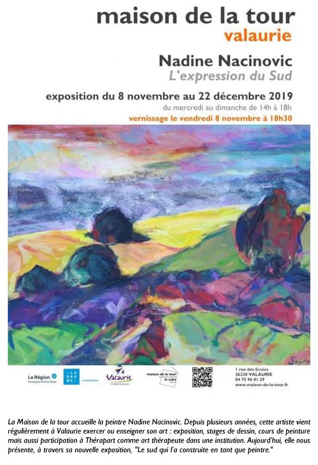 Exposition Exposition Nadine Nacinovic à la Maison de la Tour, Valaurie (26), du 8 novembre au 22 décembre 2019