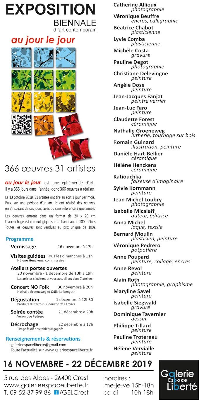 « au jour le jour ! », Galerie Espace Liberté, Crest (26), samedi 16 novembre à partir de 10 h
