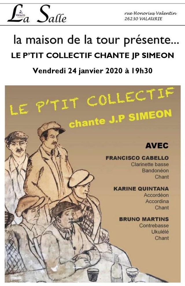 L'Petit collectif chante JP Siméon, 24/01 à 19h30, Maison de la Tour, Valaurie, Drôme