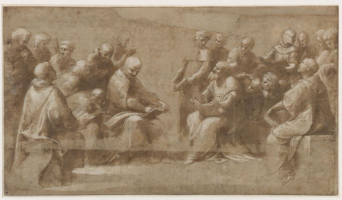 Raffaello Sanzio (1483-1520), Raphaël (dit), Etude pour la Dispute du Saint Sacrement: vingt clercs et ecclésiastiques discutant. Musée Condé, DE 53 © RMN-Grand Palais (domaine de Chantilly) / Gérard Blot