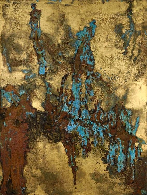 Lionel Sabatté, Tropiques enfouis, oxydation sur plaque de métal, 100 x 100 cm, 2019 © Rebecca Fanuele