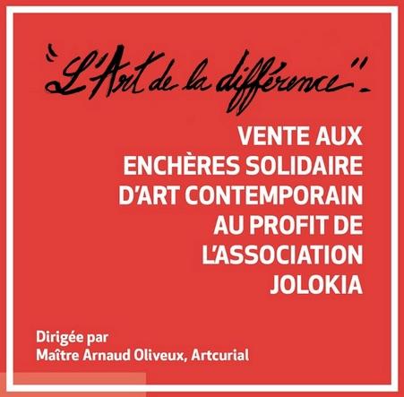 L'association Jolokia, qui œuvre en faveur de l'inclusion, organise  sa 1ère vente aux enchères solidaire d'art contemporain jeudi 23 avril 2020 à 18h30 à la Maison de la Chimie (Paris 7e)