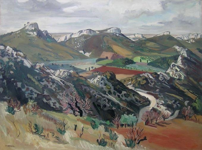 Yves Brayer. La vallée des chevriers aux Baux, 1946, Huile sur toile 97x130cm