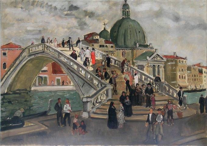 Yves Brayer. Le nouveau pont à Venise, 1935, Huile sur toile 85x119,5cm