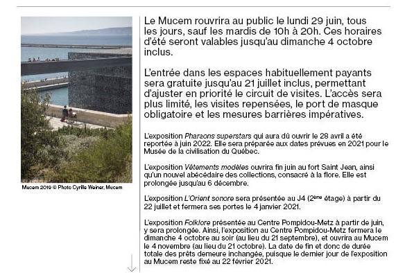 Marseille. Réouverture du Mucem le lundi 29 juin 2020