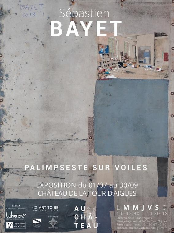 Exposition Sébastien Bayet, Palimpseste sur voiles, 1er juillet au 30 septembre 2020 au château de la Tour d'Aigues