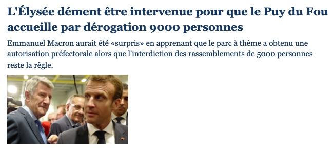Puy du Fou : il n'y a pas de passe-droit. (In Le Figaro)