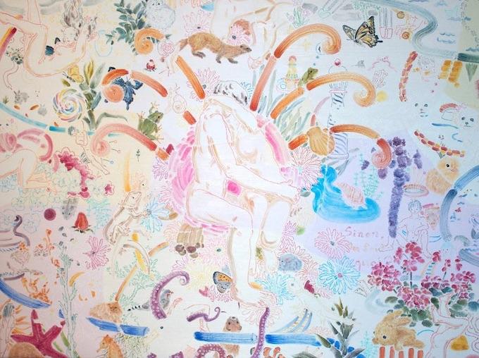 Kanaria. Espoir, 2020 Huile et crayon des couleurs sur toile, 97 x 130 cm