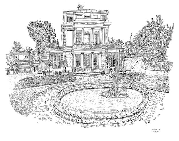 Le Casin, Propriété Caillebotte, Yerres, 13.VIII.2019. Encre de Chine sur papier, 50 x 65 cm.