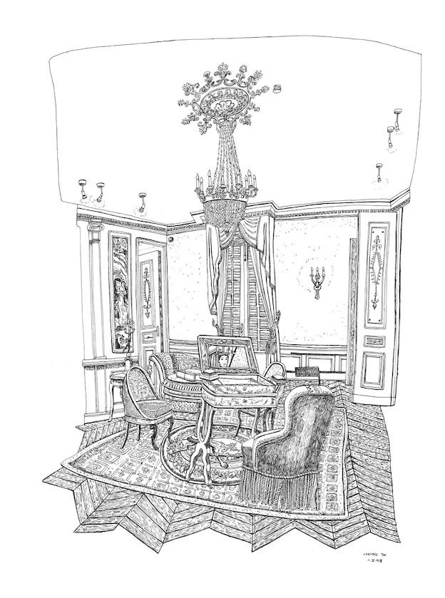 Le Salon, Propriété Caillebotte,Yerres, I.X.2019. Encre de Chine sur papier, 65 x 50 cm.