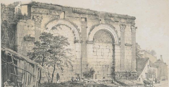Charles Fichot d'après Girault de Prangey. Langres. Porte gallo-romaine. 1847. Lithographie, Langres, MAH.