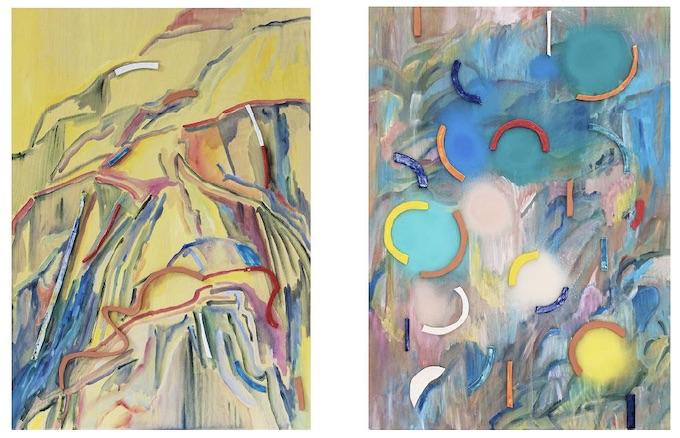 Lise Roussel Peinture-céramique I et II - 2019 70 x 50 cm acrylique, terre cuite et faïence émaillée sur bois