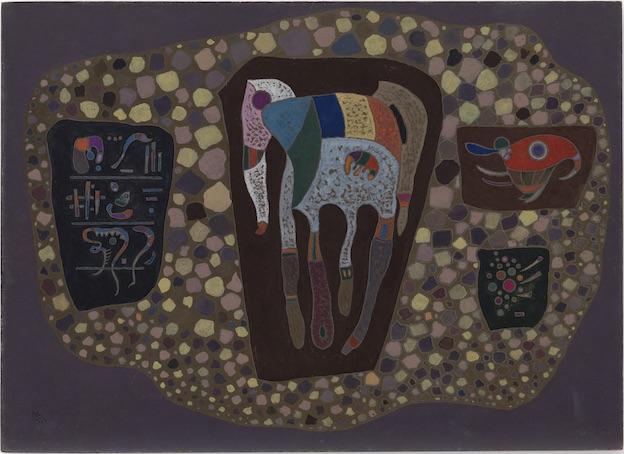 Vasily Kandinsky Fragments, mai 1943 Huile et gouache sur carton 41,9 × 57,9 cm Solomon R. Guggenheim Museum, New York, Collection fondatrice Solomon R. Guggenheim